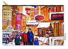 Carry-all Pouch featuring the painting Montreal Street In Winter by Carole Spandau