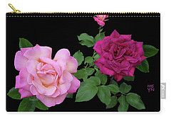 3 Pink Roses Cutout Carry-all Pouch by Shirley Heyn