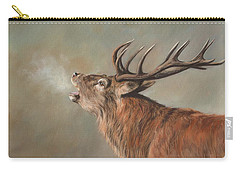 Carry-all Pouch featuring the painting Red Deer Stag by David Stribbling