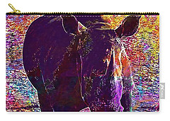 Carry-all Pouch featuring the digital art Rhino Africa Namibia Nature Dry  by PixBreak Art