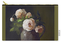 3 Roses In Silver Pitcher Carry-all Pouch