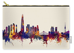 Carry-all Pouch featuring the digital art Seoul Skyline South Korea by Michael Tompsett