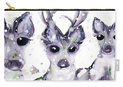 Carry-all Pouch featuring the painting 3 Snowy Deer by Dawn Derman