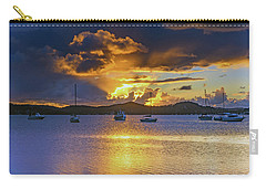 Sunrise Waterscape With Clouds And Boats Carry-all Pouch