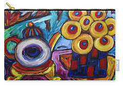 Teapot And Flowers Carry-all Pouch by Dianne  Connolly