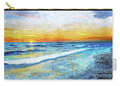 Seascape Sunrise Impressionist Digital Painting 31a Carry-all Pouch