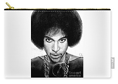 Carry-all Pouch featuring the drawing 3rd Eye Girl - Prince Charcoal Portrait Drawing - Ai P Nilson by Ai P Nilson