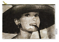 Audrey Hepburn Hollywood Actress Carry-all Pouch by Mary Bassett