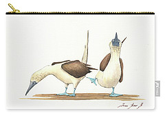 Blue Footed Boobies Carry-all Pouch by Juan Bosco