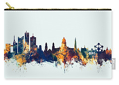 Carry-all Pouch featuring the digital art Brussels Belgium Skyline by Michael Tompsett