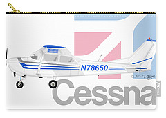 Carry-all Pouch featuring the digital art Cessna O-2 Skymaster by Arthur Eggers