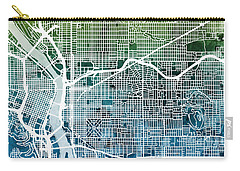 Carry-all Pouch featuring the digital art Portland Oregon City Map by Michael Tompsett