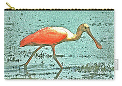 Carry-all Pouch featuring the digital art 4- Roseate Spoonbill by Joseph Keane