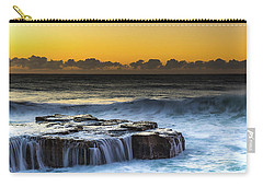 Sunrise Seascape With Cascades Over The Rock Ledge Carry-all Pouch