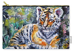 Carry-all Pouch featuring the painting Tiger Cub by Kovacs Anna Brigitta