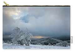 Typical Snowy Landscape In Ore Mountains, Czech Republic. Carry-all Pouch