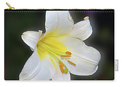 Carry-all Pouch featuring the photograph White Lily by Elvira Ladocki