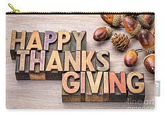Happy Thanksgiving In Wood Type Carry-all Pouch