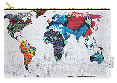 Map Of The World Carry-all Pouch by Mark Ashkenazi