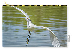 Snowy Egret Flight Carry-all Pouch by Tam Ryan