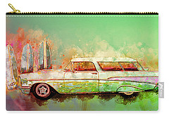 57 Chevy Nomad Wagon Blowing Beach Sand Carry-all Pouch