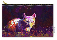 Carry-all Pouch featuring the digital art Cat Eye Injury One Eye Village  by PixBreak Art