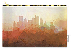 Carry-all Pouch featuring the digital art Pittsburgh Pennsylvania Skyline by Marlene Watson