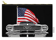 66 Mustang With U.s. Flag On Black Carry-all Pouch