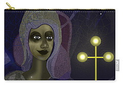 Carry-all Pouch featuring the digital art 673 - Young Lady With Cross by Irmgard Schoendorf Welch