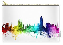 Barcelona Spain Skyline Carry-all Pouch by Michael Tompsett