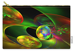 Computer Generated Planet Sphere Abstract Fractal Flame Modern Art Carry-all Pouch by Keith Webber Jr