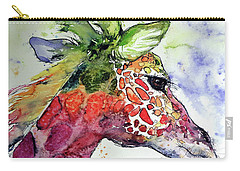 Carry-all Pouch featuring the painting Giraffe  by Kovacs Anna Brigitta