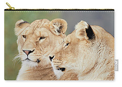 Two Lions Close Together Carry-all Pouch by Nick Biemans