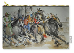 Carry-all Pouch featuring the painting Siena And Their Palio Album by Debbi Saccomanno Chan
