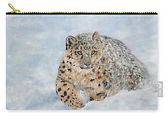 Snow Leopard Carry-all Pouch by David Stribbling