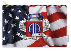 82nd Airborne Division 100th Anniversary Insignia Over American Flag  Carry-all Pouch