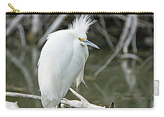 Carry-all Pouch featuring the photograph Snowy Egret by Tam Ryan
