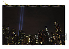 Carry-all Pouch featuring the photograph 9-11 Tribute Nyc Skyline From Seaport by Jeff at JSJ Photography