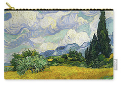 Carry-all Pouch featuring the painting Wheat Field With Cypresses by Vincent van Gogh