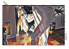 9926s-dm Watercolor Woman In White Confronts Herself In Mirror Carry-all Pouch