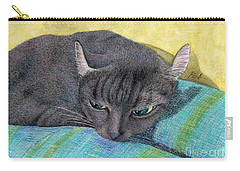 A Black Cat On The Back Of Sofa Carry-all Pouch