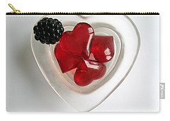 Carry-all Pouch featuring the photograph A Bowl Of Hearts And A Blackberry by Ausra Huntington nee Paulauskaite