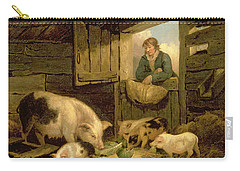 A Boy Looking Into A Pig Sty Carry-all Pouch by George Morland