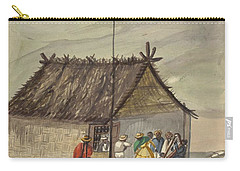 Carry-all Pouch featuring the painting A Cane Rancho Or Hut Erected For The Purpose Of Dancing Lima Costumes, Ca. 1853 ,fierro, Pancho,  by Artistic Panda