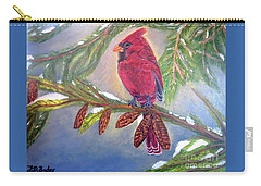 Carry-all Pouch featuring the painting A Cardinal's Sweet And Savory Song Of Winter Thawing Painting by Kimberlee Baxter