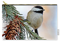 Carry-all Pouch featuring the photograph A Christmas Chickadee by Rodney Campbell