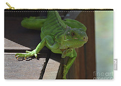 A Close Look At A Green Iguana Carry-all Pouch by DejaVu Designs