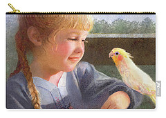 Carry-all Pouch featuring the painting A Cockatiel Named Sunshine by Nancy Lee Moran