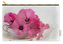 A Cup Of Pink Lavatera Flowers Carry-all Pouch by Sandra Foster