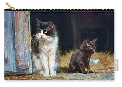 Carry-all Pouch featuring the photograph A Day In The Life Of A Barn Cat by John Rivera